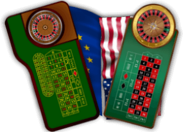 European and American roulette table and wheel layout
