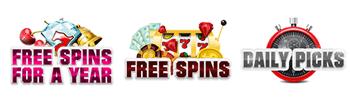 Slots Magic Casino provides you many special promotions, including Daily Picks, Free Spins and Free Spins for a Year.